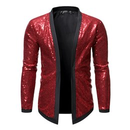 2019 gold glänzendes kleid Shiny Red Pailletten Strickjacke Blazer Männer Glitzer-Kleid-Smoking Männer Blazer Anzugjacke Diskothek Stage Show Cosplay Masculino günstig gold glänzendes kleid