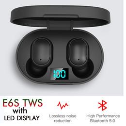 2019 cuffie monofoniche Auricolare Bluetooth TWS E6S con POWER Display a LED Charger Box BT5.0 Wireless Headset Stereo acustico ad alta fedeltà auricolari Auto Pairing doppio microfono