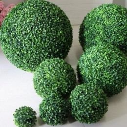plastic boxwood topiary Promo Codes - Large Outdoor Decoration plants plastic grass ball Green Artificial Plant Ball Topiary Tree Boxwood Wedding Party