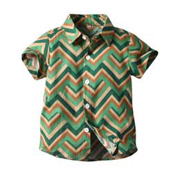 I bambini di ondeggiamento vestono online-Camicia bambino abbigliamento bambino manica corta estiva collo rovesciato stampa Wave 100% cotone abbigliamento bambino estivo