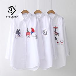 2019 botones de la manga para la venta 2019 NUEVA Camisa blanca Casual Wear Button Up Turn Down Collar de manga larga de algodón Blusa bordado Feminina caliente venta T8D427M rebajas botones de la manga para la venta