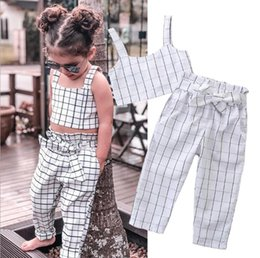 linda niña rosas Rebajas Toddler Kids Baby Girl Clothes Set Verano Sin Mangas Plaid Bow Crop Top + Pantalones Plaid Cotton Casual Niños Niñas Ropa 1-7T
