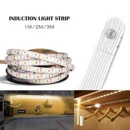 Light Strip sensore di movimento LED PIR luci del sensore della batteria 1m / 2m / 3m 60leds / m 2835smd Sotto Bed lampada armadio Armadio Cabinet Scale da