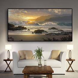 2019 immagini del tramonto spiaggia Wall Art Canvas Sunset Beach Paesaggio Poster scandinavi e Stampe Sea Wave Paesaggio marino Immagine moderna parete per Soggiorno immagini del tramonto spiaggia economici