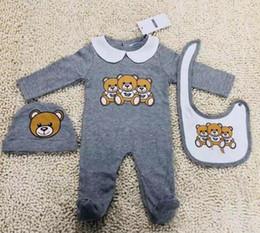 Niedliche outfit-sets online-New Fashion Baby-Kleidung eingestellt Cute Newborn Infant Baby Boys Brief Strampler Baby Mädchen Lätzchen Cap Outfits Set