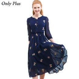 Только женские платья онлайн-Only Plus осень шифоновое платье с принтом повседневная милая о-образная шея женщины ну вечеринку с длинным платьем с длинным рукавом платье S-xxl Y190425