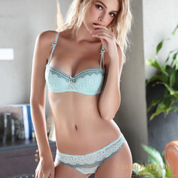 6b64db643be 2019 New Style thin cup Bra Set push up Brassiere lace Through Bra  Underwear Sets For Women Strap Erotic Lingerie