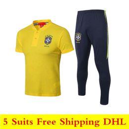 желтые рубашки поло Скидка 18 19 новые бразильские рубашки поло 2019 бразильский желтый спортивный костюм футболка Gesus футболка Firmino Coutinho мужчины с коротким рукавом тренировочный костюм S-XXL