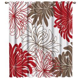 stringa di paglia all'ingrosso Sconti Crisantemo rosso floreale Blackout Decorazioni per interni Pannelli per tende per bambini con occhielli Tende e tende Tende per feste