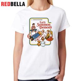 0a9c1f5a9010a Women s Tee Redbella Let s Summon Tee Shirt Femme Demons T-shirt 100%  Cotton Fashion Poleras De Mujer Moda Print Casual Woman Top Tees Women  poleras women ...
