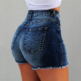 Sexy vaqueros pitillo caderas online-Alta cadera de la cintura los pantalones cortos de lavado Ascensor Frilled flacas pantalones cortos pantalones cortos de mezclilla atractiva del verano ropa de las mujeres nave de la gota 220223