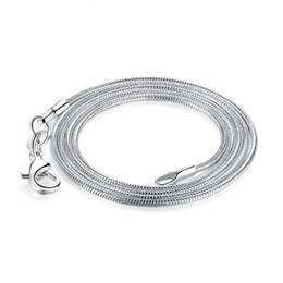 """cadena cerrada de strass Rebajas 925 Collar de cadena de serpiente de plata esterlina para las mujeres colgante, collar, joyería, broche de langosta, tamaño 1.2 mm, longitud 10 """"- 30"""""""
