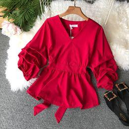 Рубашка с длинным рукавом онлайн-2019 crop top women plus size Solid color V-neck Polyester sexy slim high waist waist pleated shirt women clothes ruffle blouse