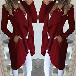 veste en gros de peplum féminin Promotion Nouveau coton manteau d'automne Blends longues Poches à manches longues col revers Pardessus col Slim Casual Femmes Veste 8L0994 Lapel-vêtement
