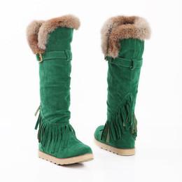 тонкий длинные сапоги сексуальные колено высокие замшевые женщины снегоступы кисточкой женская мода зима бедра высокие сапоги обувь плоские каблуки женщина zx-871 от