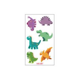 Pegatinas de dinosaurios de dibujos animados online-Etiqueta engomada del tatuaje dinosaurio impermeable de los niños de dibujos animados de animales fiesta de la etiqueta engomada de la tinta de múltiples colores de belleza tatuaje temporal etiqueta