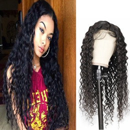 human hair brazilian wig blonde Promo Codes - 10A Water Wave Human Hair Wigs Loose Deep Yaki Straight Kinky Curly lace front wigs 130 150 180 250% Deep Wave Human Hair Lace Front Wigs