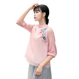 Manga de cheongsam superior online-Historia de Shanghai Nueva venta tops chinos tradicionales 3/4 Manga cheongsam top blusa de lino top de lino chino tradicional
