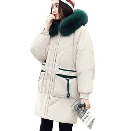 Penne verdi lunghe online-Green Large Fur Collar Hooded 90% White Duck Down Jacket Fashion Lungo paragrafo Parka Winter Jacket Donna Warm Feather