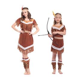 trajes indianos americanos Desconto Trajes de Halloween Umorden Princesa Indiano Americano Cosplay Caçador de Caçador de Traje Da Menina Caça Vestido Indiano para Crianças Adulto