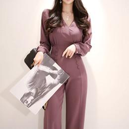 Combinaison femme travailleuse en Ligne-Mode V-cou À Manches Longues Femmes Combinaison Élégant Femme Travail Affaires Lâche Pantalon Combinaisons Mince Taille Long Combishort 2019