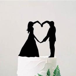 idées décors mariage Promotion Topper de gâteau de mariage de silhouette de mariée et de marié, gâteau personnalisé, idées de décoration de mariage moderne, fournitures de fiançailles