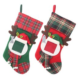 Medias de fotos online-2019 marcos de fotos transparentes de Navidad calcetines de Navidad a cuadros bolsa de regalo para niños decoraciones navideñas para el hogar bolsas de dulces medias