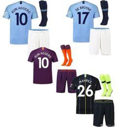 Kun aguero niños camiseta online-18 19 hombre MAHREZ Camisetas de fútbol Casa 2019 Kids Kit Ciudad Visitante KUN AGUERO DE BRUYNE SILVA SANE maillot Fútbol infantil Jersys