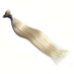 Gold gerade haar online-Weißes Gold Farbe brasilianisches gerades Haar bündelt 100% Menschenhaar-Webart 10-30 Zoll doppeltes Einschlag Remy