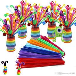 2019 tubo de chenilla tallos 100 unids / lote bendaroos Montessori Materiales Math Chenille tallos Sticks Puzzle Craft Niños Pipe Cleaner Educativo Juguete creativo tubo de chenilla tallos baratos
