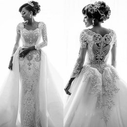rhinestone bodice appliques 2019 - 2019 Gorgeous Sweetheart Long Sleeves  Crystal Wedding Dresses Mermaid Overskirt Lace a1b250790255