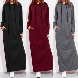straight maxi dress Promo Codes - Women Maxi Dress Long Sleeve Ladies Casual Hoodies Long Straight and Ground Length 401#