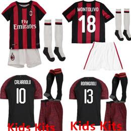 e67fe6779 China kids kits+Socks AC Milan Jersey 2018 2019 BACCA ONAVENTURA MONTOLIVO Football  1819 Children