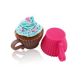 Кексы с кексами онлайн-Мягкий круглый силиконовый Кубок Shaped красочный сдобы Шоколадный кекс Liner выпечки Cake Mold с ручкой MMA1409-6