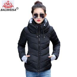 2019 cappotto di giacca a tuta BALIWEISA 2019 nuove signore cappotto moda giacca invernale tuta sportiva donna breve giacca imbottita femminile imbottito parka cappotto donna sconti cappotto di giacca a tuta