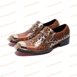 a52924457bdc Italian Handmade Men Dress Shoes Fashion Cow Leather Formal Party Shoes  Snakeskin Men's Brogue Shoes for Business Big Size