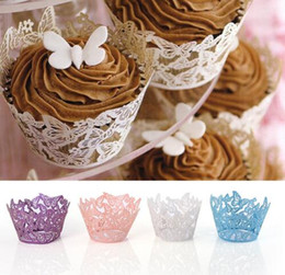 wedding shower cupcake cake Promo Codes - Laser Cut Cupcake Wrappers Cake Decor Butterfly Design Wedding Party Decoration Baby Shower Wrap Birthday Favors Ice Cream Wraps 13 Colors