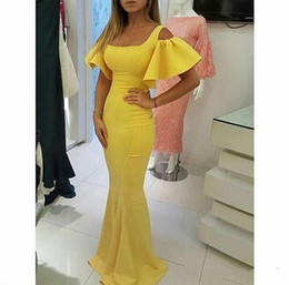 Sereia decote quadrado vestidos de noite on-line-2019 Designer Vestidos de Baile Vestidos De Formatura Amarelo Decote Quadrado Curto Puffy Manga Sereia Vestidos de Noite
