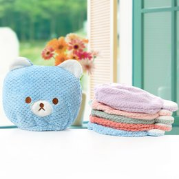 towels shower baby Coupons - Cartoon Baby Shower Cap Magic Quick Dry Hair Coral Fleece Towel Cute Bear Drying Turban Wrap Hat Baby Kid Bathing Dry Hair Caps DBC VT1711