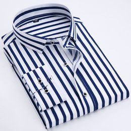 415607b5bffeb9d 2019 мужская фирменная рубашка 2018 новый мужской рубашки мужские  классические рубашки в полоску мужская мода свободного