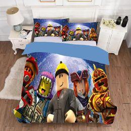 Camas individuales niños online-Juego de dibujos animados 2 / 3pcs juego Roblox 3D Imprimir Sábana funda nórdica funda de almohada cubierta de la UE Individual Doble lecho del sitio del cabrito Textiles