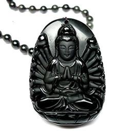 colgante kwan yin Rebajas Joyería Fina Hielo Natural Tipo de Obsidiana 16 Brazos Cuasi Bulmo Kwan-Yin GuanYin Bodhisattva Collar Colgante Envío Gratis
