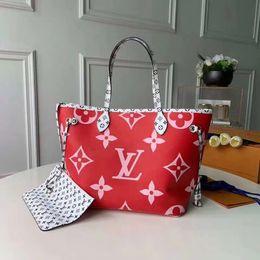 2019 bolsa de ombro azul escuro denim Designer Luxury Handbags Purses L Letter NEVERFULL Leather Handbag White Printing Purse Womens Designer Bag M44588