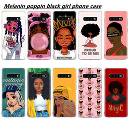 Copertina del telefono di samsung per le ragazze online-Custodia per cellulare Melanin Poppin Queen per Samsung S10 E S9 S8 Plus Custodia S7 A7 2018 per Galaxy A30 A50 Note 8 9 Custodia nera per Magic Girl Soft TPU
