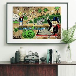 watercolor seascape paintings Promo Codes - Money Pool by Alec Monopoly Paintings On Star Canvas Wars Modern Art Poster Decorative Wall Pictures Home Decoration