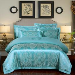 Jacquard azul comforter conjuntos on-line-SJ 4 pçs / set Jacquard Azul Conjuntos de Cama De Cama De Linho de Luxo Conjuntos de Cama de Linho Forros de Algodão Capa de Edredão Set Fronhas Casa Têxtil