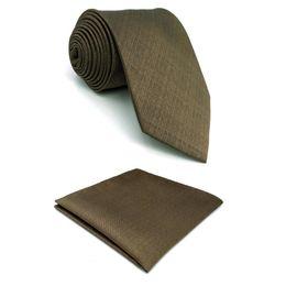 feste seidentasche Rabatt Brown Solid Mens Krawatte Seide Designer Kleid Classic Brand New X-Long Einstecktuch Set