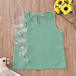 2019 bordado para meninas Baby Girl Vest Tops Gaze Sólida Bordado Patchwork T-shirt Crianças Roupas de Grife Meninas Do Bebê Da Menina Tops 1-6 T 07 desconto bordado para meninas
