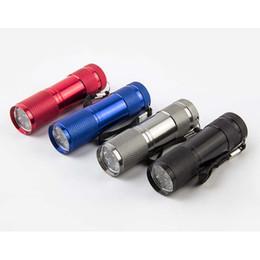lanterna doméstica Desconto Liga de alumínio portátil UV Flashlight Luz Violeta 9 LED 30lm Tocha Lâmpada Luz Mini Lanterna Diversos Eletrodomésticos 7 cores ZZA1459 600pcs