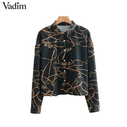 Vadim women chains print loose blouse long sleeve oversized turn down  collar shirts vintage female casual wear top blusas LA600 chain blouses on  sale c76606b61